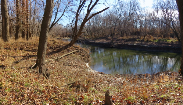 Standing on west bank of Blue River looking down at Byram's Ford. [photo by theCiviWarMuse]