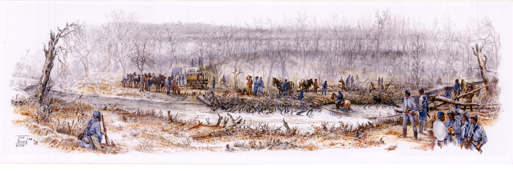 """Contested Crossing,"" a scene from October 22, 1864, at Byram's Ford on the Big Blue River in Kansas City, Missouri."