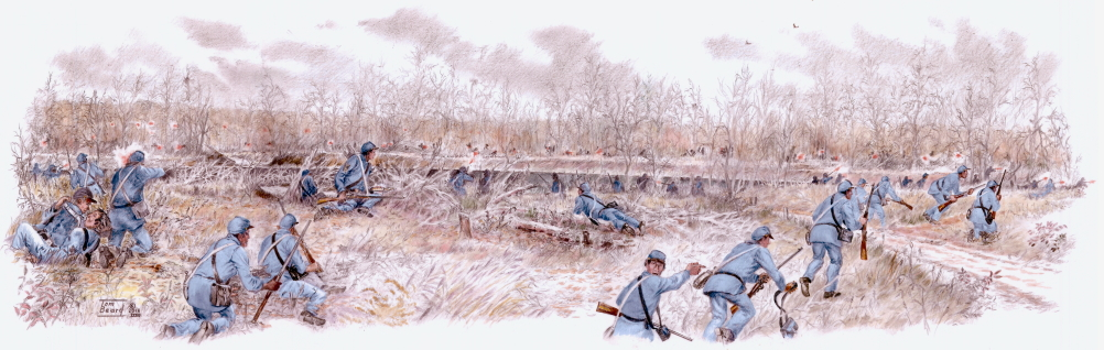 """Storm of Lead,"" a scene from October 23, 1864, at Byram's Ford on the Big Blue River in Kansas City, Missouri."
