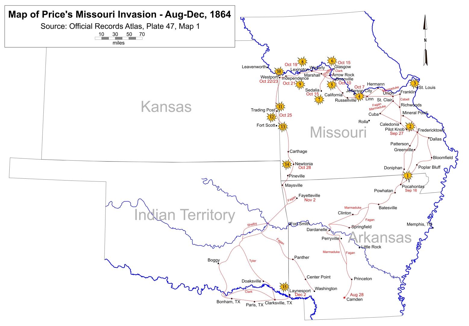 Annotated Map of Price's 1864 Missouri Invasion