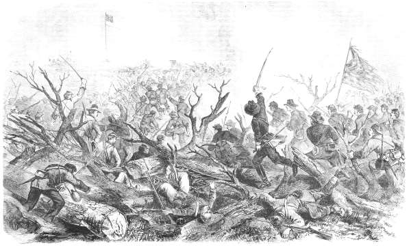 Federal troops attacking a fortified Confederate position.