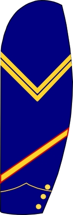 Veteran Volunteer service chevron for the US Cavalry was a yellow stripe bordered with red.