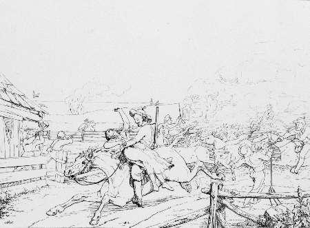 Jennison's jayhawkers drawing by John Volck Adalbert