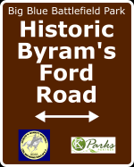 Sign marking Historic Byram's Ford Road